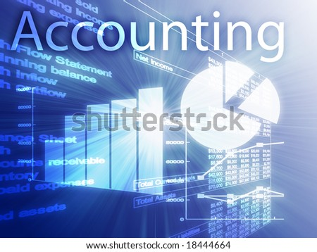 Accounting illustration of Spreadsheet and business financial charts - stock photo