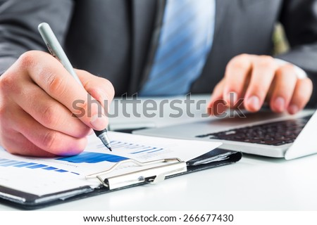 Accounting, market, laptop. - stock photo