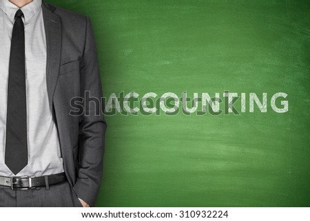 Accounting on green blackboard with businessman on side - stock photo