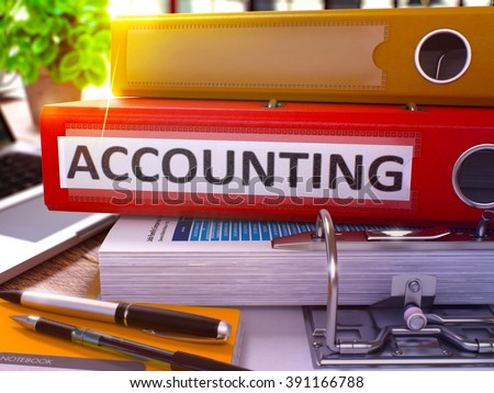 Accounting - Red Ring Binder on Office Desktop with Office Supplies and Modern Laptop. Accounting Business Concept on Blurred Background. Accounting - Toned Illustration. 3D Render. - stock photo