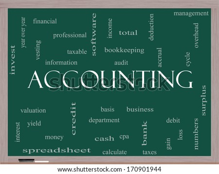 Accounting Word Cloud Concept on a Blackboard with great terms such as debit, loss, audit, yield and more. - stock photo