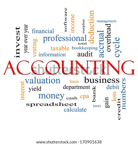 Accounting Word Cloud Concept with great terms such as debit, loss, audit, yield and more. - stock photo