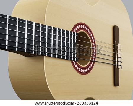 Accoustic guitar detail horizontal version - stock photo