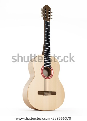 Accoustic guitar isolated on white background - stock photo