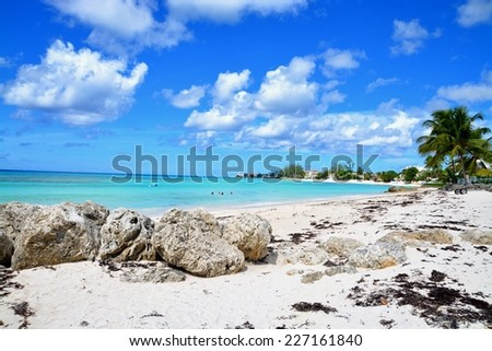 Accra Beach, on the south coast of the tropical Caribbean island of Barbados in the West Indies.  - stock photo