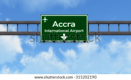 Accra Ghana Airport Highway Road Sign 3D Illustration