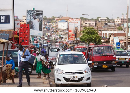ACCRA, GHANA - MARCH 18: Traffic on road in Accra, capital city of Ghana on March 18, 2014 in Accra, Ghana. Ghana is one of the most popular tourists destination in Africa. - stock photo