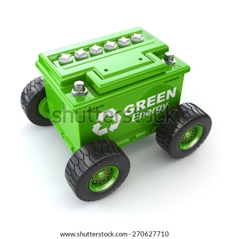 Accumulator or car battery on the wheel. Green energy concept. 3d - stock photo