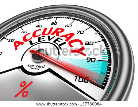 accuracy level conceptual meter indicate hundred per cent, isolated on white background - stock photo