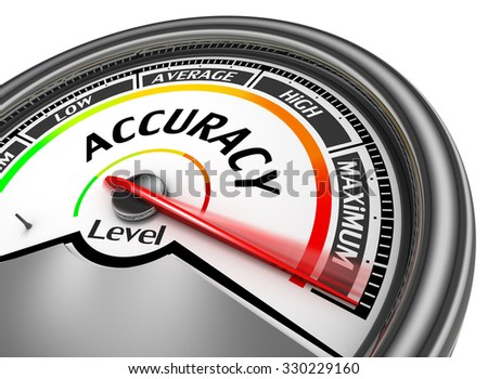 Accuracy level conceptual meter indicate maximum, isolated on white background - stock photo