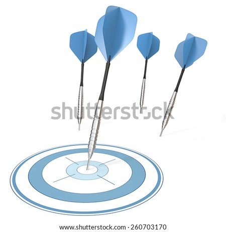 Accurate. 4 Dart arrows. One hitting target. Blue theme. - stock photo