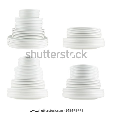 Accurate pile stack of the round ceramic white dish plates isolated over white background, side view, set of four - stock photo