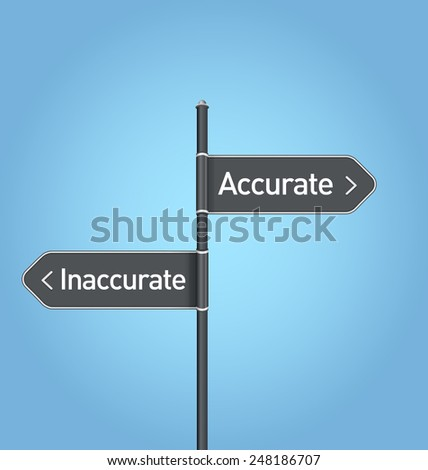 Accurate vs inaccurate choice road sign concept, flat design