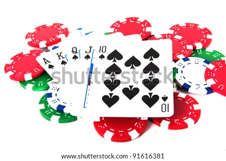 Ace high royal straight flush poker hand with poker chips