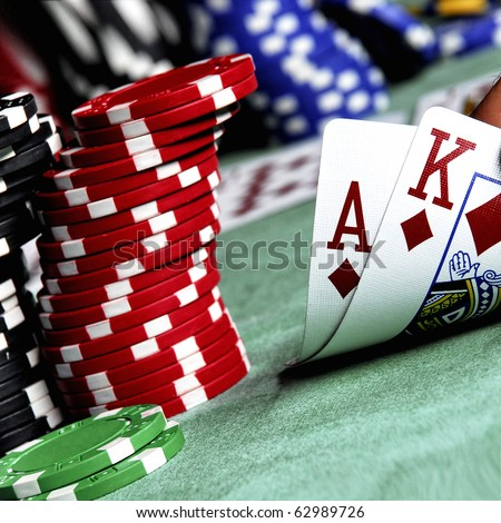 ace, king and poker chips stack - stock photo