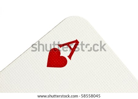 Ace of heart closeup on white background - stock photo