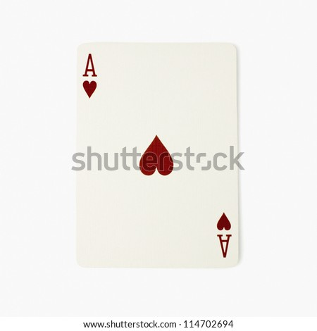 Ace of hearts playing card - stock photo