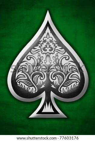 ace of spades on a green background - stock photo