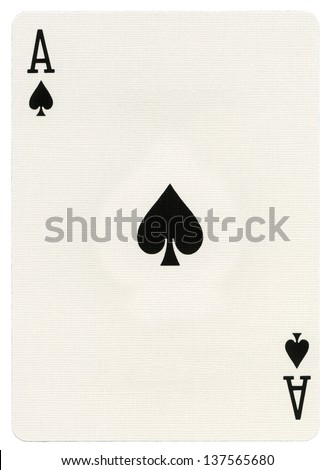 Ace of spades playing card, isolated on white background.  - stock photo