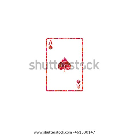 ace - Playing card  - red mosaic icon