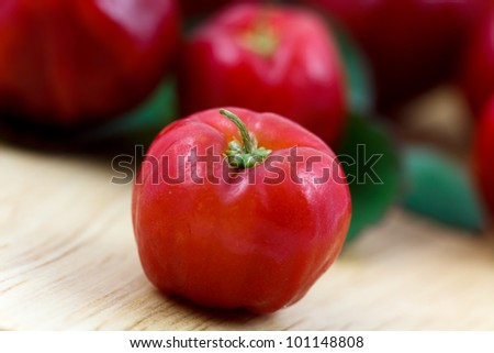 Acerola small cherry fruit with high quantity C Vitamin - stock photo