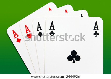 Aces Poker. Four aces on a green gradient background - stock photo