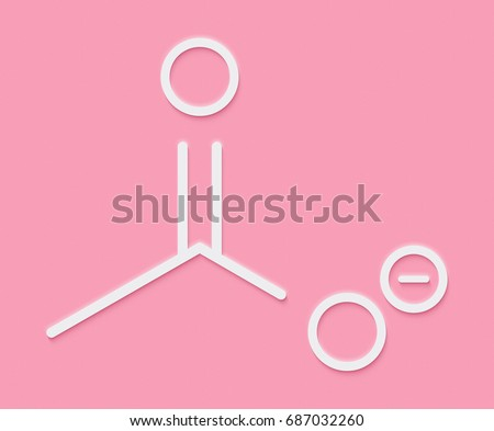 Acetate Anion Chemical Structure Skeletal Formula Stock Illustration