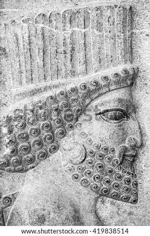 Achaemenid soldier in Persepolis - stock photo
