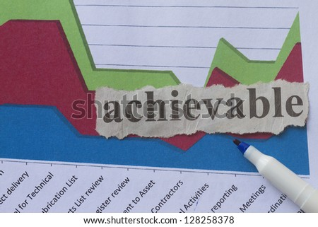 Achievable with graph abstract on success and achievement. - stock photo
