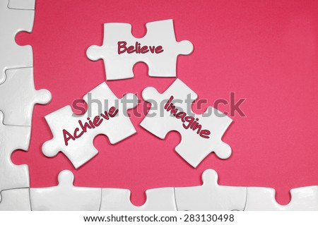 Achieve Believe Imagine word on white puzzle - Business Concept - stock photo