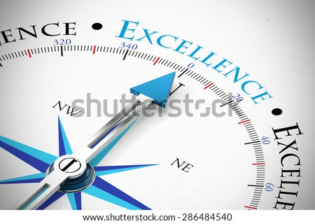 Achieve Business Excellence as concept on a compass (3D Rendering) - stock photo