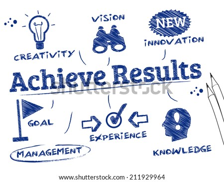 Achieve Results. Chart with keywords and icons - stock photo