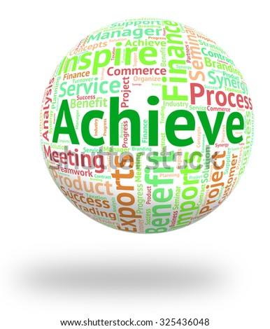 Achieve Word Representing Wordclouds Successful And Progress - stock photo