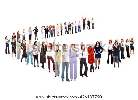Achievement Idea Team over White  - stock photo