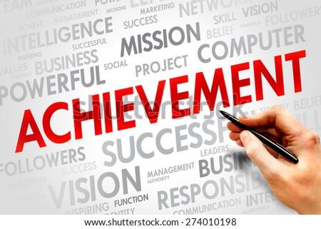 Achievement word cloud, business concept - stock photo