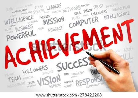 Achievement word cloud, business concept - stock photo