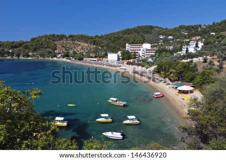 Achladies beach at Skiathos island in Greece - stock photo