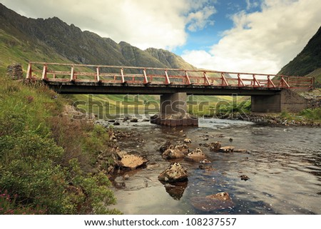 Achnambeithach bridge from the pass of Glencoe on Loch Achtriochtan in the Scottish highlands.