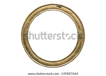 Acient round gold wooden isolated on white background
