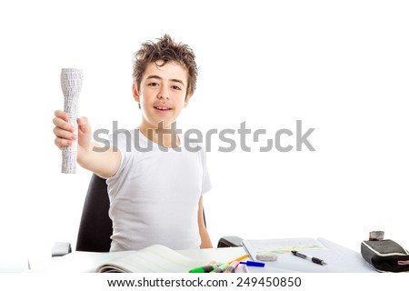 Acne Caucasian teenager smiles holding 3D print labelled flashlight with right hand while doing  homework - stock photo