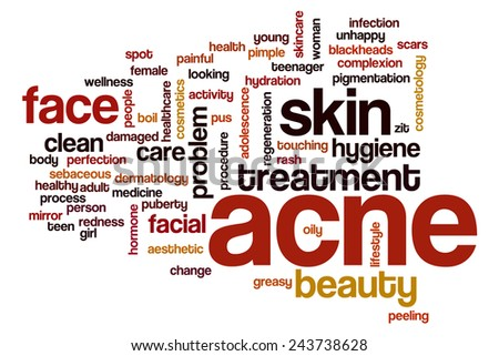 Acne word cloud concept with skin face related tags - stock photo