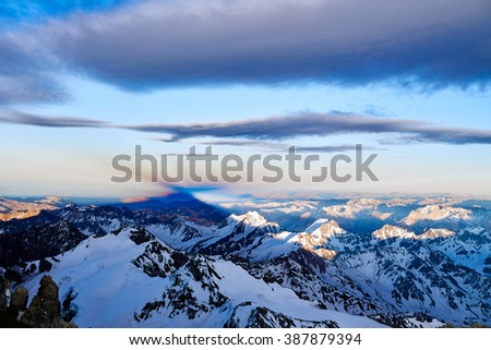 Aconcagua mount shadow view in the path to the summit at 6300 meters. Aconcagua Provincial Park, Mendoza, Argentina, South America.                          - stock photo
