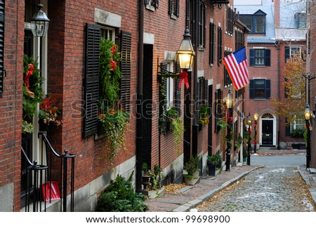 Acorn Street, Boston - stock photo