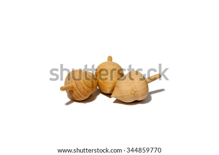 Acorn wood from oak tree in isolated