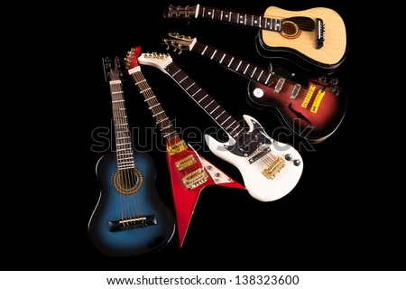 acoustic and electric guitars set - stock photo