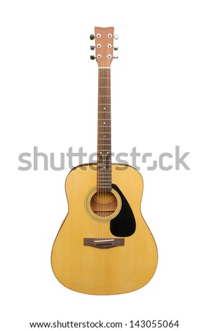 acoustic classic guitar on white background - stock photo