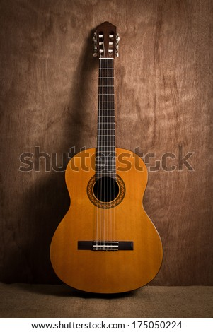 acoustic classical guitar with strings - stock photo