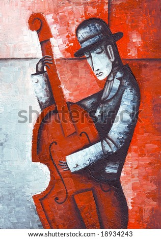 Acoustic double bass player - Classic Jazz. Illustration by Eugene Ivanov. - stock photo