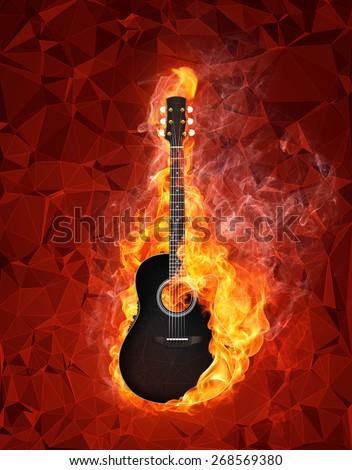 Acoustic - Electric Guitar in fire on polygon background - stock photo