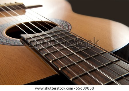 Acoustic guitar. - stock photo